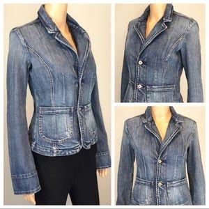 Diesel blue denim 2 button jean jacket w/ pockets